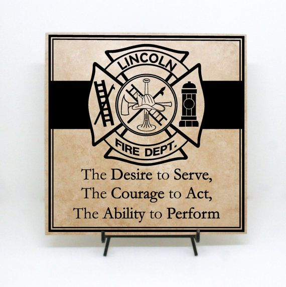 Custom Fire Department Sign, Wood Board or Tile- The Desire to Serve- Father's Day, Firefighter, firemen, firehouse decor, firefighter decal on Etsy, $30.00