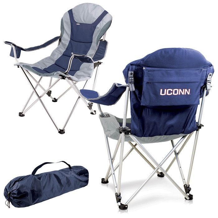 UConn Huskies Blue Reclining Camp Chair. Great as a spectator chair at sporting events or outdoor activities. Visit SportsFansPlus.com for Details.