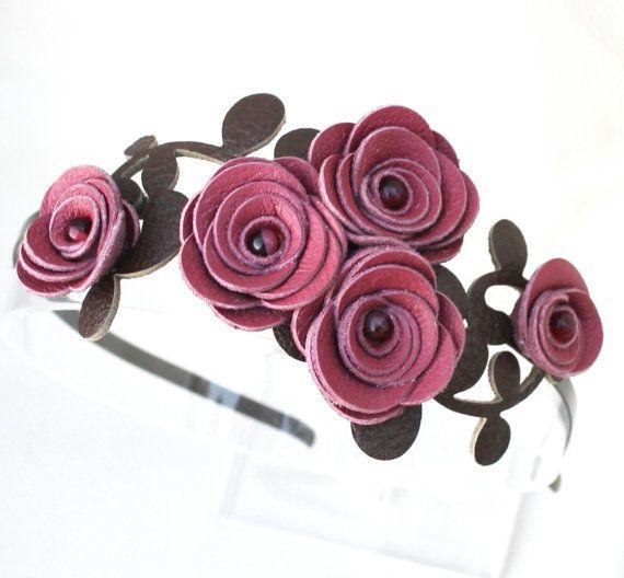 Bridal headband flower headband leather headband leather rose bridal hairband floral headband woodland wedding hair accessory prom