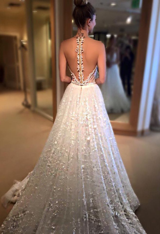 25 best ideas about sparkly wedding dresses on pinterest for Wedding dresses with dramatic backs