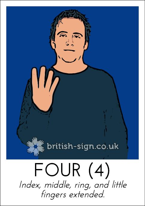 Today's British Sign Language sign from www.british-sign.co.uk is: FOUR