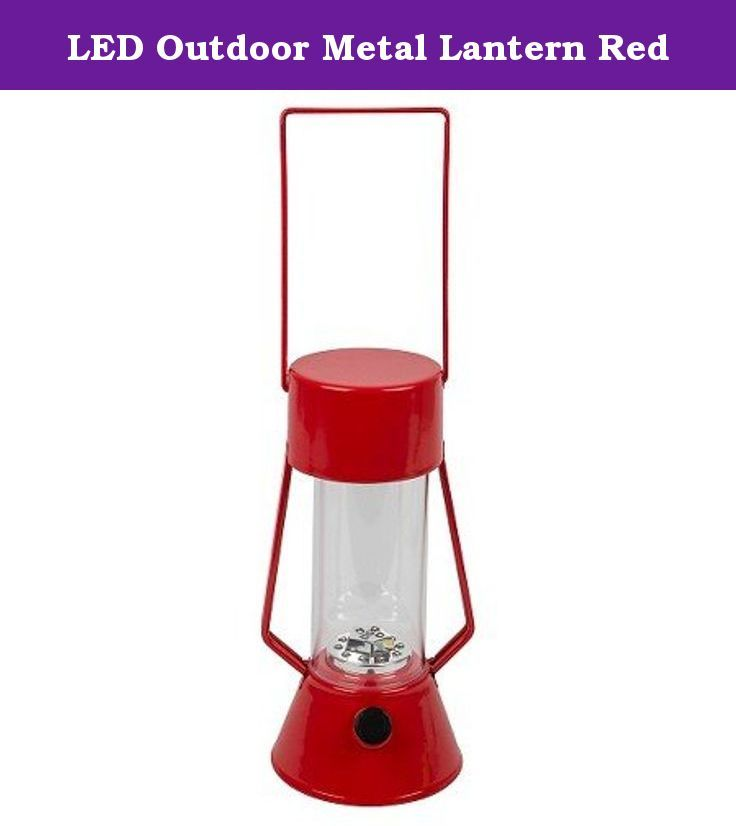 LED Outdoor Metal Lantern Red. Classic looking metal lantern with 15 LED lights provides the perfect ambiance to your outdoor activity. This battery powered lantern is weather resistant and will stand up to the elements. 4 AA batteries included, dimmer switch to adjust brightness and light enough to travel to any location. Maximum Light Bulb Wattage: 0.8 watts LED |Run Time: 200 hours.