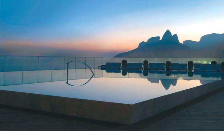 Hotel Fasano Rio in Ipanema, Rio de Janeiro, Brazil. The sunset from infinite pool is a must.