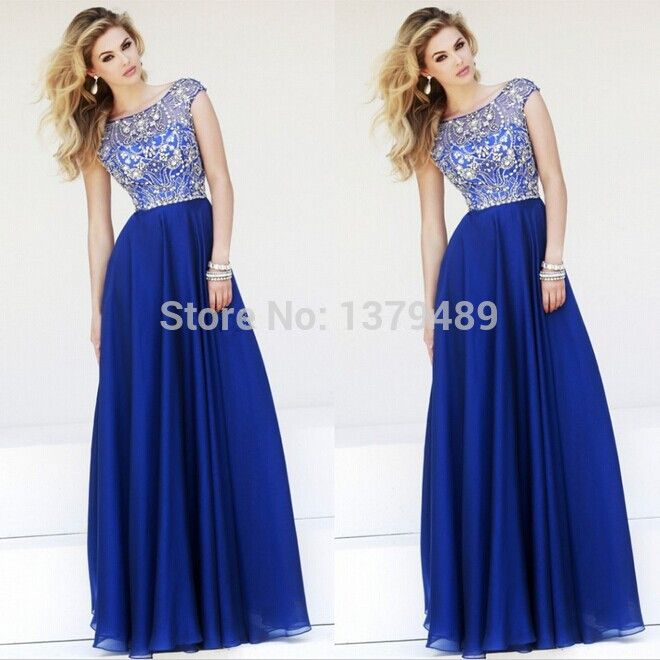 Aliexpress.com : Buy Elegant A line Cap Sleeves Royal Blue Chiffon Prom Long Dresses 2014 New Floor Length Prom Dress from Reliable dresses prom dress suppliers on simplestdress