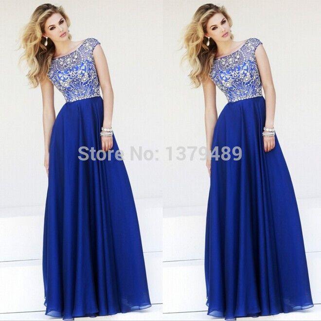 Aliexpress.com : Buy Elegant A line Cap Sleeves Royal Blue Chiffon Prom Long Dresses 2014 New Floor Length Prom Dress from Reliable dresses prom dress suppliers on simplestdress
