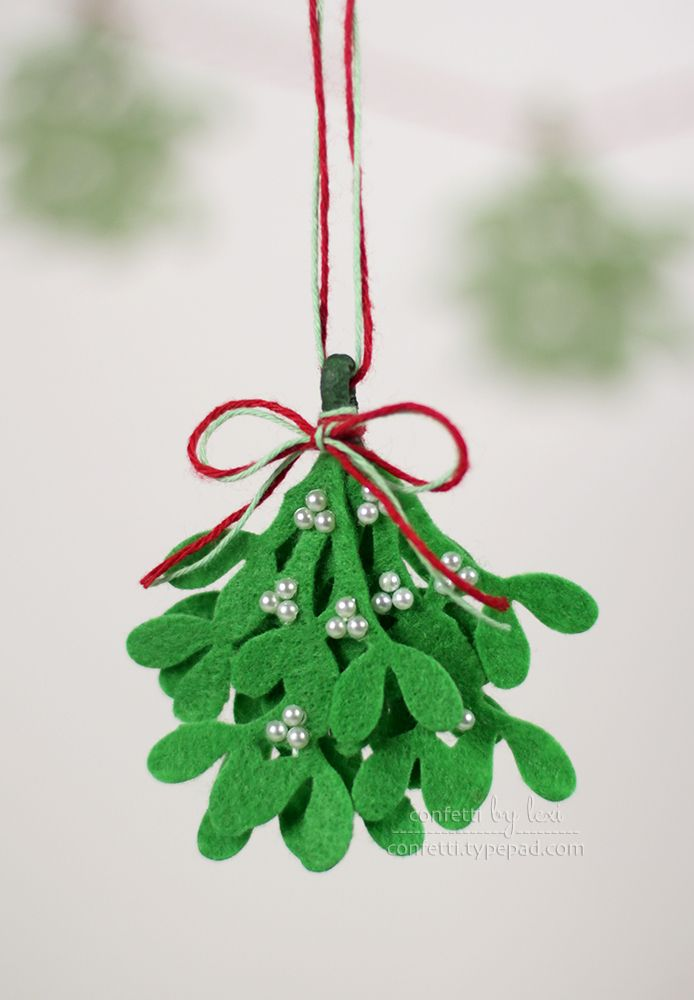 meet me under the felt mistletoe! hang in place of the real thing or use for gift embellishment.