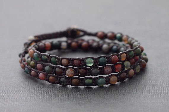 Fancy Jasper Triple Wrap Unisex Bracelet Anklet by XtraVirgin, $14.00