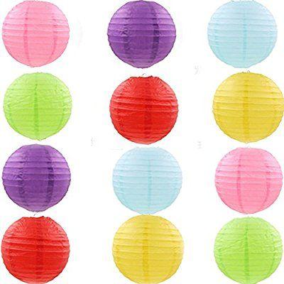 moinkerin 12 PCS 8 inch (20cm) DIY hecho a mano linternas de papel Alrededor de forma Paper ball pantallas de lámparas linterna Lámpara de Papel Linternas Chinas para fiesta de bodas partido decoración de cumpleaños