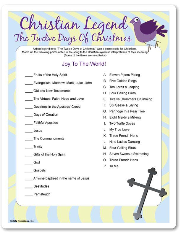 Printable Christian Legend: The Twelve Days of Christmas