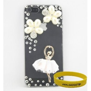 3D Bling Diamond Crystal Rhinestone Pearl Flower and Ballet Girl Pattern Transparent Hard Case Skin Cover for Apple iPhone 5 5G