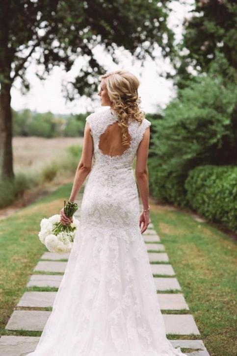 Prachtige bruidsjurk model A-lijn van hoogwaardig kant
