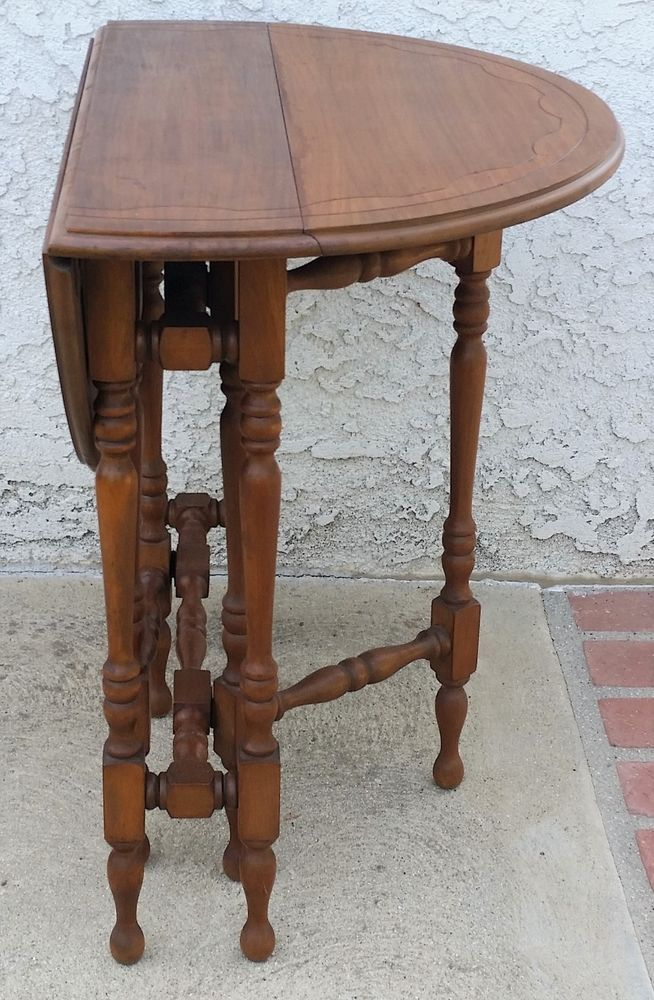 Beautiful Walnut Small Drop Leaf Gate Leg Table It Is A Round Top Which You Can Drop Down One Or Both Sides Table Farm House Living Room Narrow Hall Table