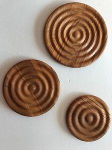 3 DANSK Teak Wood Trivets Hot Plates Designs Concentric Circles Midcentury NEW  | eBay