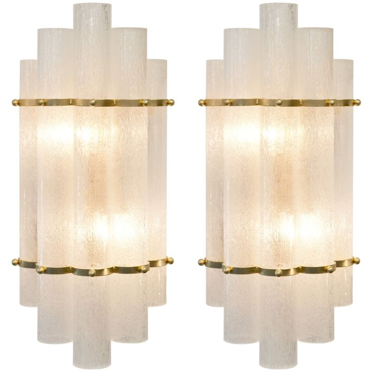 Italian Art Deco Style Pair of Murano Glass & Brass Sconces   From a unique collection of antique and modern wall lights and sconces at https://www.1stdibs.com/furniture/lighting/sconces-wall-lights/