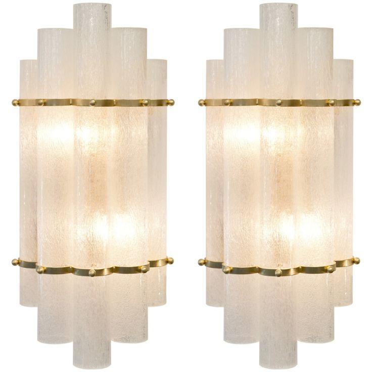 Italian Art Deco Style Pair of Murano Glass & Brass Sconces