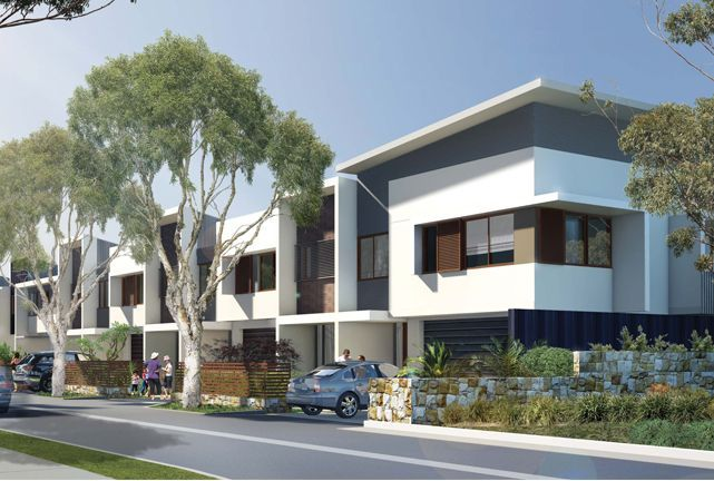 Modern Townhouse Exterior Street Scene – Clean lines, landscape and nice building elements