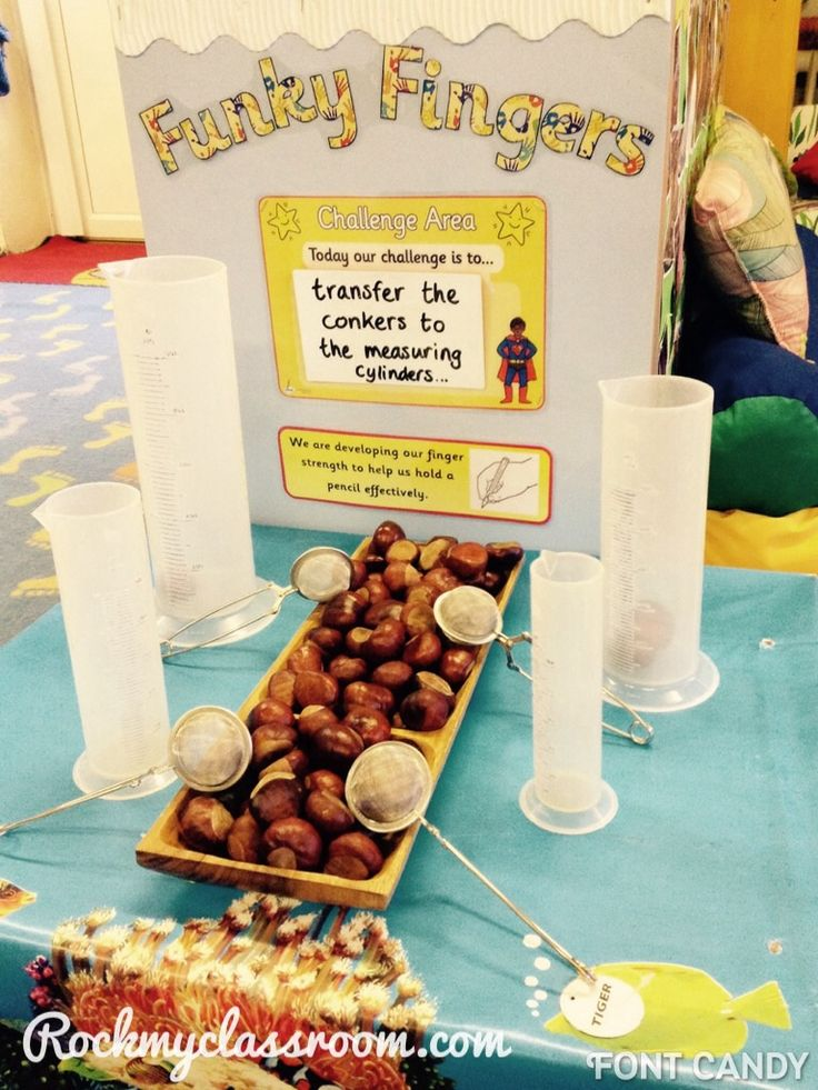 """Funky Fingers"" Fine Motor Activity: ""Conker"" Sorting with Tea Strainers (from Rock My Classroom)"