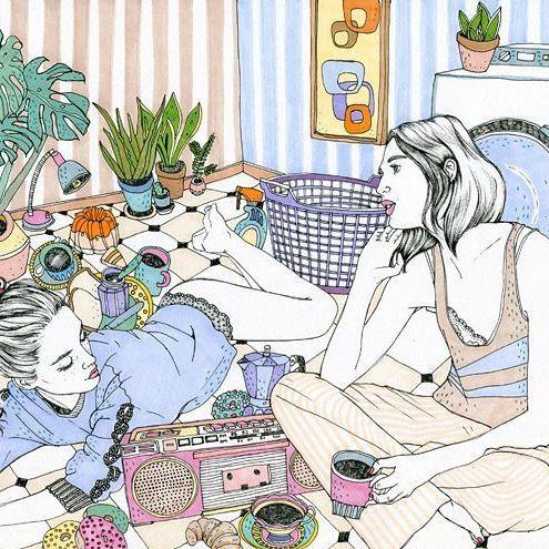 Girls talk #anajaren #illustration #happyfriday #friyay #laundry #girls #cosy #tea # coffee #coffeebreak #decoration #plants #lingerie #pajamas #music #instaart #instadrawing #markers #arts_gate #artists_magazine #_tebo_
