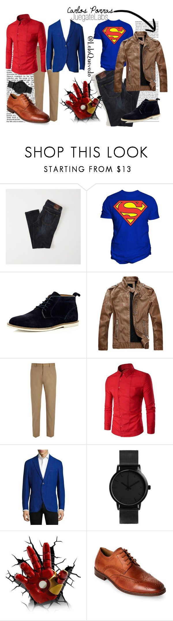 """men style casual"" by leloquevedo on Polyvore featuring Ultimate, Abercrombie & Fitch, Changes, River Island, Joseph, Boglioli, Florsheim, men's fashion y menswear"
