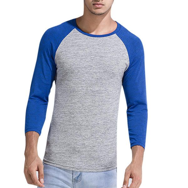 Men's Casual Hit Color O-neck Collar Tee Polyester Slim Men's Sport T Shirts at Banggood