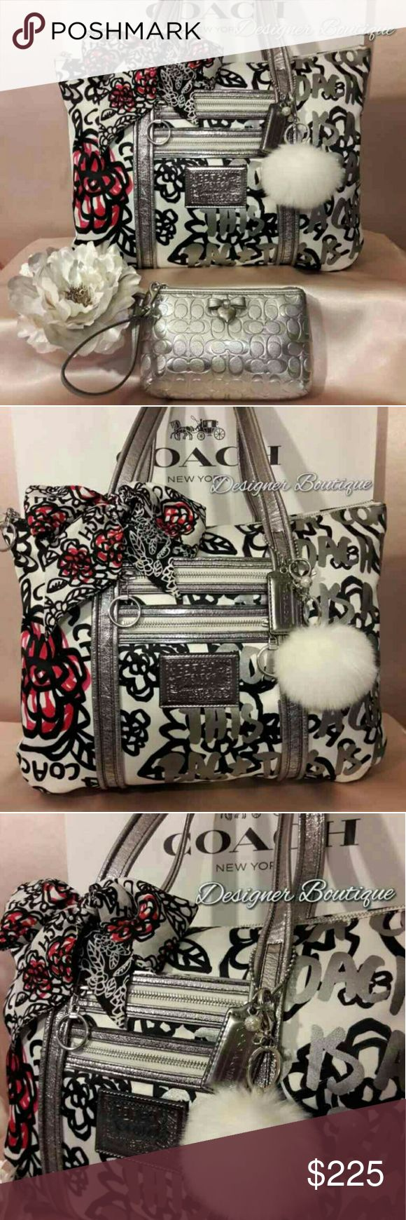 "❤🎉Coach Poppy Bella Glam Tote Set🎉🎉❤ Coach Poppy Floral Graffiti Glam Tote Item: 14741 Color: SV/Black White Multi ☆Floral graffiti fabric with metallic leather trim ☆Inside zip and multifunction pockets ☆Zippered top closure ☆ Soft fabric lining spotless! ☆Outside front zip pockets ☆Double strap Silver Glam handles with 8"" strap drop ☆Approximately: 16"" L x 14"" H x 3"" W ☆In fabulous condition minor wear ☆Matching Wristlet And Scarf Included Coach Bags"