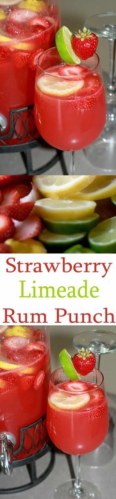 Strawberry Limeade Rum Punch is a delicious party punch recipe perfect for summer cocktails by the pitcher if you want to serve alcoholic party punch recipes.