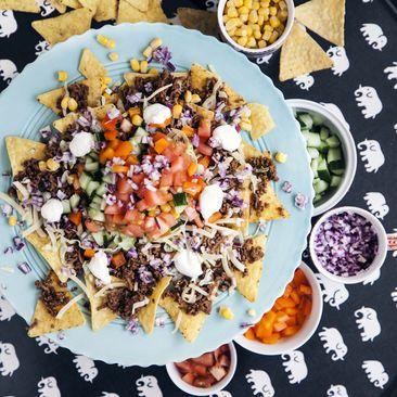 Nachotallrik med tacofärs grönsaker och ost