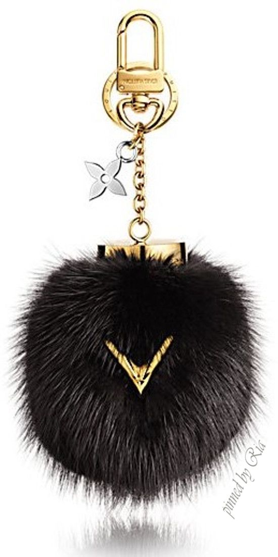 "Louis Vuitton Luxurious Black Mink Fur Bag Chain Adorned with a Golden ""V"" for a…"