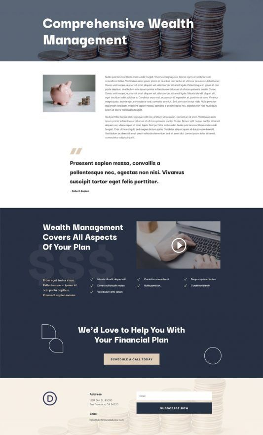 Pin By Design Assembly On Divi Layouts In 2020 Financial Advisors Financial Wealth Management