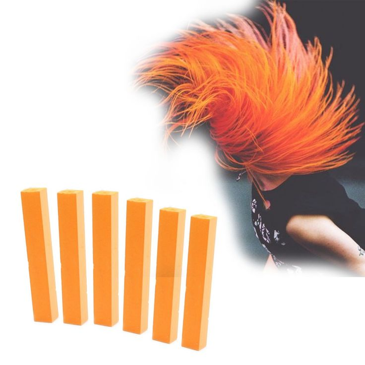 Orange Hair Dye | HAPPY ORANGE 6 Vibrant Orange Color Hair Dye | HairChalk  Burnt Orange Hair Color for your temporary hair dying fun! A complete 6 Hair Chalk Carrot Orange Ginger hair kit