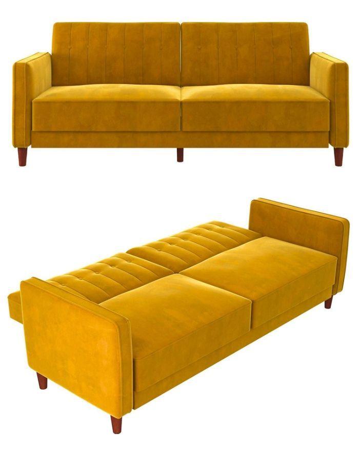 Mustard Yellow Velvet Sofa Bed In 2020 Velvet Sofa Bed Stylish Sofa Bed Stylish Sofa