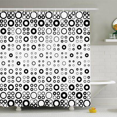 "Ambesonne Geometric Circle Simple Vortex Disc Shaped Interior Ellipse Chord Lines Artwork Shower Curtain Set Size: 70"" H x 69"" W x 1"" D"