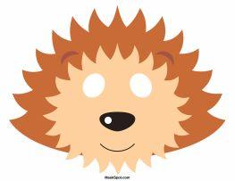 Hedgehog mask templates including a coloring page version of the mask. Free printable PDF at http://maskspot.com/download/hedgehog-mask/