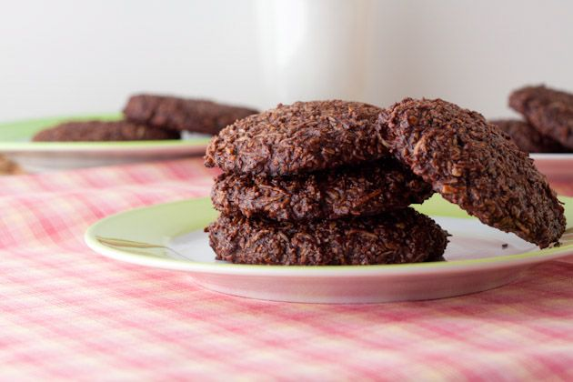 5 Ingredient Paleo Chocolate Coocnut Cookies  shredded coconut, cocao powder,  unpasteurized honey, eggs, & vanilla extract