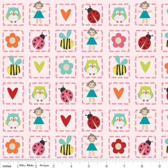 Alphabet Soup Girl Squared in Pink Quilting fabric