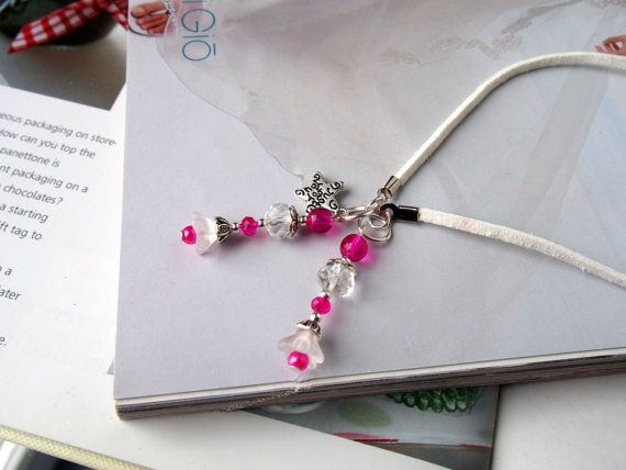 Stylish Beaded Bookmark BRIDAL PARTY GIFT or Wedding Favor with frosted white and pink glass beads - Puffy Flower beads, Bell flower
