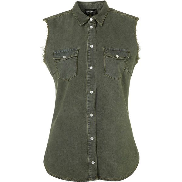 MOTO Khaki Sleeveless Denim Shirt ❤ liked on Polyvore