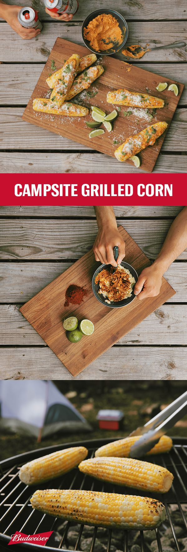 This grilled corn on the cob is a super easy dish for your next campsite barbecue. Set the grill to direct medium heat and cook all four sides for 4 minutes each. Add some chili-lime butter for a zesty addition to this summer staple. Slather on top of the corn, sprinkle with Cotija cheese, and garnish with chopped cilantro. Just grab some Budweiser for a refreshing finish.