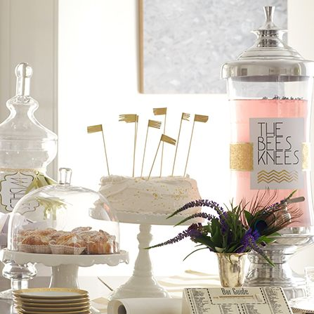fringe skewers, cake stands, beverage dispenser and more for a roaring 20's party- TheEntertainingShoppe.com