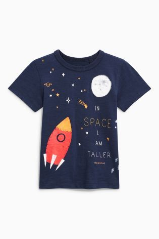 Navy Space Short Sleeve T-Shirt (3mths-6yrs)