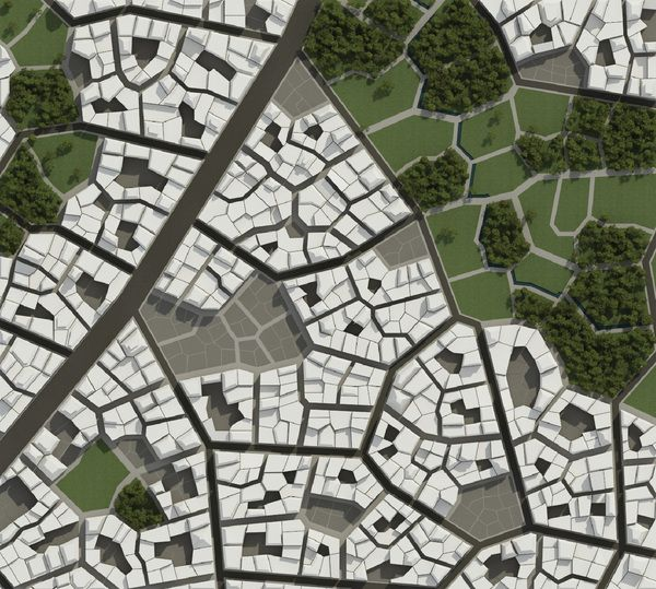 Urban Tissue Experiment by Márton Jancsó, via Behance. Brilliant experiment that uses a leaf as the template for a city. Click through for more renderings.