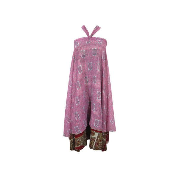 Mogulinterior Mogulinterior Long Wrap Skirt Pink Floral Print Two... ($20) ❤ liked on Polyvore featuring skirts, pink maxi skirt, long layered skirt, long maxi skirts, purple maxi skirt and long wrap around skirt