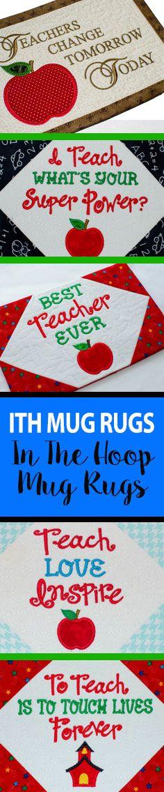 ITH Mug Rug, Teacher Mug Rug, Teachers Gift, Mug Rug, Coaster, Trivet, Teacher Gift, Candle Mat, Quilted, Embroidery, Apple Applique, ITH Machine Embroidery