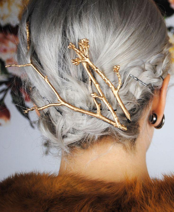 DIY gold twigs hair pins