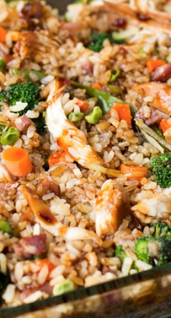 Teriyaki Chicken Casserole Recipe ~ a killer casserole with teriyaki chicken, broccoli, fried rice and extra sauce... delicious!