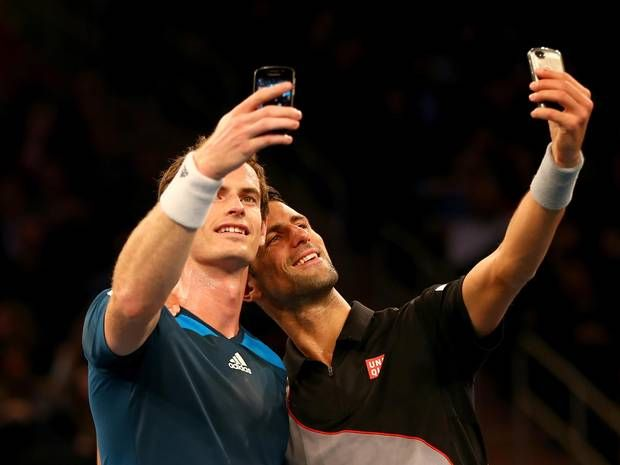 Novak Djokovic defeats Andy Murray at Madison Square Garden in one-off exhibition match and stop for a selfie on court