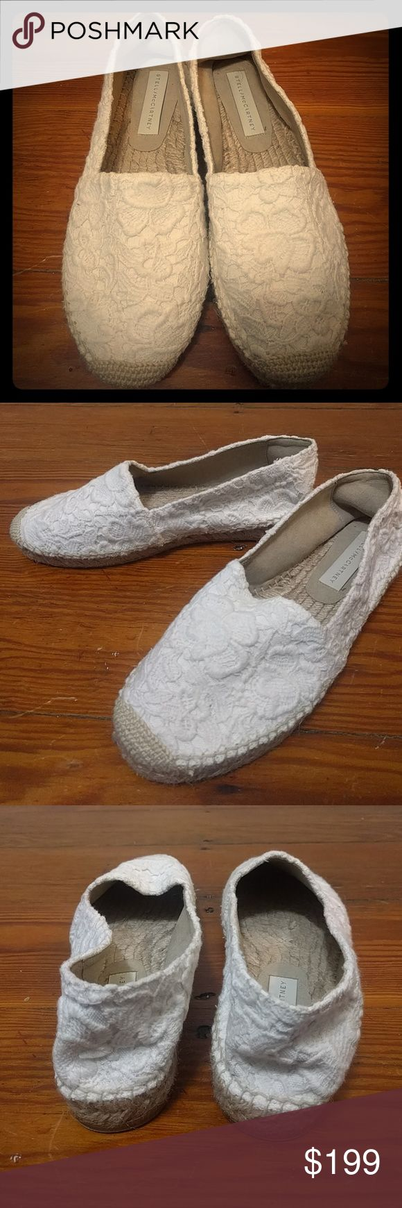 Barely worn white lace Stella MacCartney flats Perfect wedding flats. Woven on the bottom and thick lace on top. Labeled as suitable for vegetarians. Stella McCartney Shoes Espadrilles