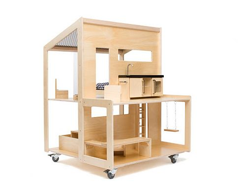"""OMG! LOVE! """"Birch plywood, stainless steel, transparent varnish, wheels… I wouldn't mind to play with this and the other fabulous, modern dollhouses made by Liliane."""""""