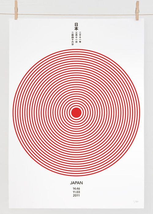 "Source: Daniel Freytag - ""JAPAN 14.46 11.03 2011"". A very clever, almost infographic-like depiction of the force of the earthquake, with the epicentre look like the red sun symbol. The message is simply, in itself, data, stating the facts (date and time), yet its banality and objectiveness seems to provoke strong emotional response due to the significance of those data."