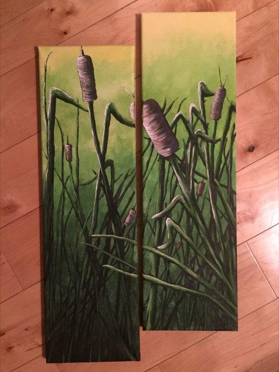 Cattail Jungle  Original Acrylic Painting by KristiBonham on Etsy